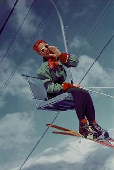 Vintage ski lift chicness. #vintage #winter #sports #skiing