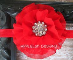 Red Ruffled Flower / Silk Flower Clip w Headband / Photo prop / Bridesmaid Flower girl  / Flower Hair Clip / Baby shower