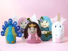 The Girly Set - Five Wool Felt Finger Puppets. $40.00, via Etsy.