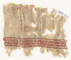 Egypt(find spot) Fustat(possible find spot) Near East(place of creation) Date 10th - 15th century AD Material and techniquetwo pieces of linen, embroidered with red and yellow silk; joined with a flat seam in flax; with a pleat sewn with brown silk