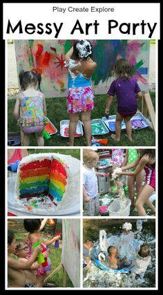 Play Create Explore: Messy Art/ Rainbow Theme Outdoor Birthday Party