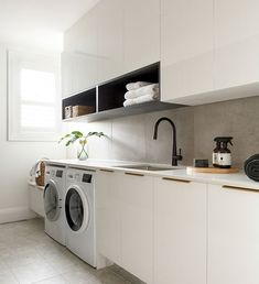 The Block Laundry Hayden and Sara Laundry In Kitchen, Laundry Decor, Laundry In Bathroom, Laundry Room Inspiration, Home Decor Inspiration, Laundry Room Design, Kitchen Design, Kitchen Ideas, White Cabinets
