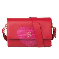 Leowulff 'Hearty' red leather bag with pink croco embossed heart leather detail bag. The Love bag.
