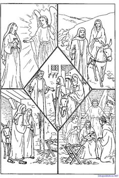 Nativity Coloring Pages, Printable Christmas Coloring Pages, Coloring Books, Bible Drawing, Religion Catolica, Christmas Embroidery Patterns, Christian Crafts, Pretty Drawings, Bible Crafts