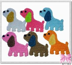 Items similar to 6pc crochet puppy doggy big ear applique/scrapbook/sew craft/flatback on Etsy