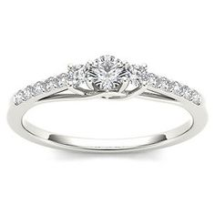 Amouria Diamond 10K White Gold 1/3 ct tw Diamond Engagement Ring