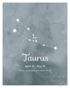 Taurus Zodiac Constellation Wall Art Printable 8x10 - Instant Download, Birthday…