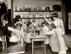 """Home economics in public schools. Kitchen in housekeeping flat, New York,"" circa 1910 (via Shorpy Historical Photo Archive :: In the Kitchen: 1910)"