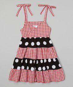 Another great find on #zulily! Red Gingham Tie-Strap Tiered Dress - Toddler & Girls #zulilyfinds
