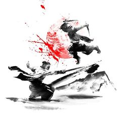 Samurai Duel Photographic Print by conpassione Arte Ninja, Ninja Art, Japanese Artwork, Japanese Prints, Samurai Wallpaper, Samurai Artwork, Samurai Tattoo, Samurai Warrior, Dark Fantasy Art