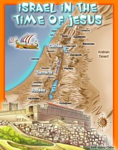 Israel in the Time of Christ in the First Century AD. Bible Geography for Kids of all ages. Kids Bible Maps is a Free Bible Study Resource for Parents and Teachers to help kids and students understand the background and geography of the Bible. Geography For Kids, Maps For Kids, Bible For Kids, Israel History, Jewish History, Ancient History, Bible Mapping, Free Bible Study, Jesus Bible