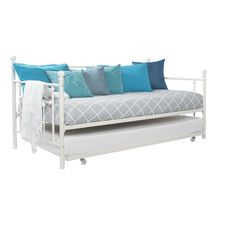 Ameriwood Manila Metal Twin Daybed With Trundle In White   4015159   DHP