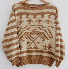 Vintage Unisex Sweater Aztec Eagle Brown Tan Striped Valentino Uomo Medium Rare