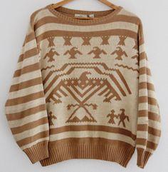 Vintage Unisex Sweater Aztec Eagle Brown Tan Striped Valentino Uomo Medium Rare