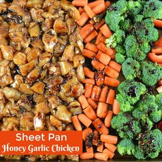 Sheet Pan Honey Garlic Chicken is an easy sheet pan dinner that's packed with fl. Sheet Pan Honey Garlic Chicken is an easy sheet pan dinner that's packed with flavor. An easy chicken recipe ready in just 30 minutes. Chicken Parmesan Recipes, Honey Garlic Chicken, Easy Chicken Recipes, Healthy Dinner Recipes, Recipe Ready, Sheet Pan Suppers, Recipe Sheets, Easy One Pot Meals, Honey Recipes