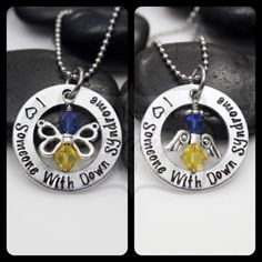 """Hand Stamped """"I Love Someone With Down Syndrome"""" Down Syndrome Awareness Necklace"""