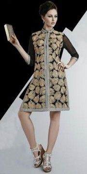 Dashing Black And Beige Georgette Designer Kurti.
