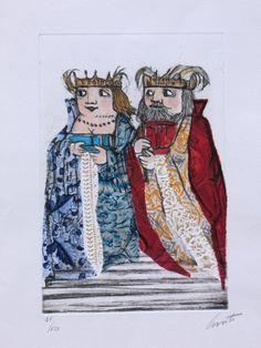 Lele Luzzati - Re e Regina (acquaforte, acquatinta, collage)