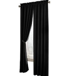 Maytex Velvet Blackout Panel    Black commands class, black attracts a considerable amount of attention. So how would it look like, if you decorate your living room with a gleaming black velvet curtain? Effortlessly elegant would be a mere understatement! This luxurious black velvet curtain has a solid color window panel along with an energy efficient rod pocket, which is quite effective in blocking heat, cold and light hence.