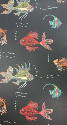 Aquarium Wallpaper in Black and Multi-Color from the Perroquet Collection by Nina Campbell at Burkedecor – BURKE DECOR Animal Wallpaper, Fabric Wallpaper, Wall Wallpaper, Pattern Wallpaper, Bathroom Wallpaper Fish, Wallpaper Ideas, Goldfish Wallpaper, Wallpaper Headboard, Funky Wallpaper