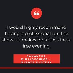 """""""Great feedback! The best way to enjoy our Murder Mystery games is to leave the hosting duties to a professional performer, who not only entertains, but keeps everything on track to ensure a zero-fuss evening! #ApplauseEntertainment #MurderMystery #testimonial  #girlsnightout #girlsonly #guysnight #brosnight #events #eventplanner #eventplanning #eventprofs #eventpros #eventideas #eventtrends #corporateevents"""" by @applauseentertainment (applauseentertainment). • • What do you think about this…"""