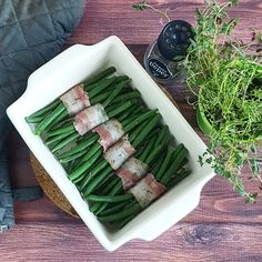 Haricots verts met spek Side Dish Recipes, Side Dishes, Christmas Time, Xmas, Asparagus, Buffet, Bacon, Food And Drink, Menu