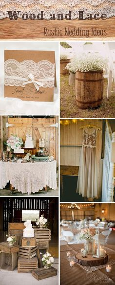 rustic and vintage wood and lace wedding ideas and wedding invitations #weddinginvitation