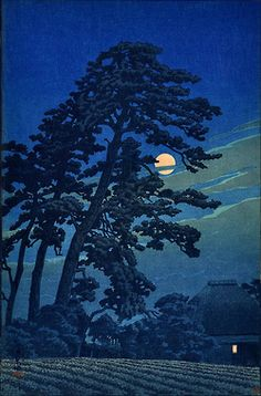 'Moon at Megome' (1930) woodblock print by Hasui Kawase (by Plum leaves)