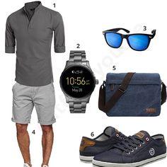 Schickes Herren-Outfit mit Aulei-Hemd, Fossil Armbanduhr, Sonnenbrille, grauer Indicode Shorts, blauer Umhängetasche und Bugatti Sneakern.