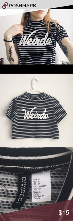 H&M Weirdo crop top You don't have to be a weirdo to love this shirt ! Soft, comfortable, wEiRd. Perfect condition. Make an offer ! H&M Tops Crop Tops