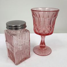 Mixed collection of vintage pressed glass-PINK, 8 available for rent, $5 each.