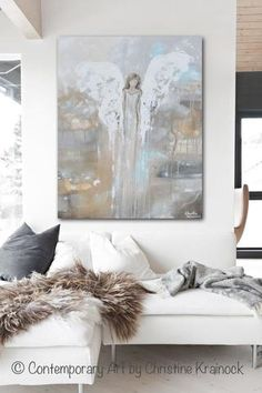 """Angel Art Painting """"With Courage in Her Heart"""" Fine art, abstract, guardian angel painting depicting stunning angel gently watching over & guiding. Stunning, contemporary, abstract, guardian angel painting canvas print. This modern, spiritual art piece  soothing, pale, natural colors, grey, white, beige, pale blue & unique painting effect, it also contains a stylish, elegant feel. Perfect for any home decor room design, interior design neutral living room. Artist, Christine Krainock"""