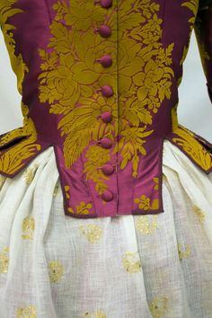 Details on bodice and skirt of what looks like a Rococo era- century ensemble. Violet and gold bodice with baroque style print. Vintage Dresses, Vintage Outfits, Vintage Fashion, Drag Clothing, Fast Fashion, Fashion Looks, 18th Century Costume, Fairytale Fashion, Lace Ball Gowns