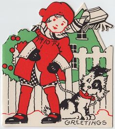 Art Deco Christmas Girl with Dog Card Vintage Greeting Cards, Christmas Greeting Cards, Christmas Greetings, Vintage Postcards, Vintage Christmas Images, Retro Christmas, Christmas Puppy, Christmas Cats, Ghost Of Christmas Past