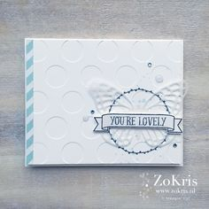 by Krista: You're So Lovely, Gorgeous Grunge, Soft Sky dsp, Vellum, Large Numbers framelits, Butterflies Thinlits - all from Stampin' Up!