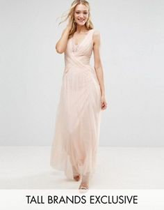 Little Mistress Tall Pleated Wrapover Maxi Dress With Lace Trim