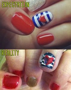 American Flag-Inspired Manicure. | 15 Pinterest Nail Artists Who Aimed So High But Failed So Hard