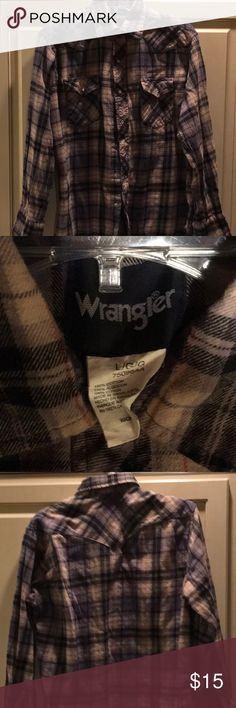 2 for price of 1 Wrangler soft flannel shirts EUC.  Barely worn.   Really soft..both are blue and gray mainly . Wrangler Shirts