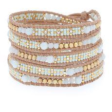 Amazonite Sectioned Wrap Bracelet on Beige Leather