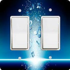 Rikki Knight Grunge Music Notes Single Rocker Light Switch Plate
