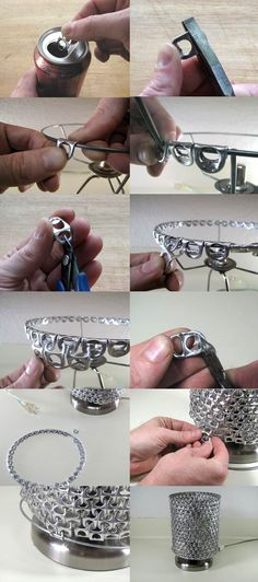 Soda Can Pop Top Chainmail. This tutorial shows how to make a lamp, but the same technique could be used to make DIY cosplay armor. Get creative! More photos and complete tutorial on clickthrough.