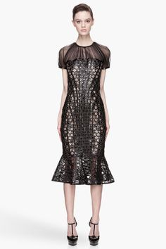 Alexander McQueen Black And Warm Beige Perforated Honeycomb Patent Leather Runway Dress for women | SSENSE
