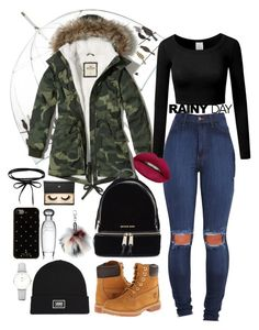 """""""Rainy Day"""" by chloesarginson on Polyvore featuring Hollister Co., Timberland, Michael Kors, Kate Spade, Vans, Aéropostale, CLUSE, Thomas Sabo, Huda Beauty and Lash Star Beauty"""