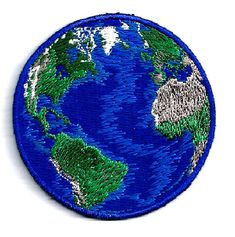 Earth - World - Planet - Earth Day - Nature - Embroidered Iron On Patch - B Cute Patches, Pin And Patches, Sew On Patches, Iron On Patches, Jacket Patches, Inchies, Embroidery Designs, Embroidery Patches, Learn Embroidery