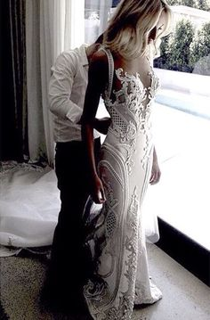Elegant Mermaid Strap V Neck Beach Wedding Dress ,Luxurious Open Back Ivory Lace Wedding Dress Custom Hand Made
