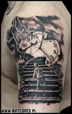 Risultati immagini per stairs to clock tattoo Harley Tattoos, Wörter Tattoos, Bild Tattoos, Watch Tattoos, Daddy Tattoos, Arm Tattoos For Guys, Body Art Tattoos, Cool Tattoos, Realistic Tattoo Sleeve