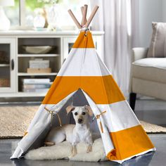 Merry Products Striped Pet Teepee - Indoors or out, the Merry Products Striped Pet Teepee gives your furry friend a shady respite. This adorable Teepee-style tent assembles easily an...