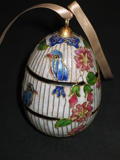 Vintage Cloisonne Egg Ornament Bird Cage and Flowers. Starting at $3