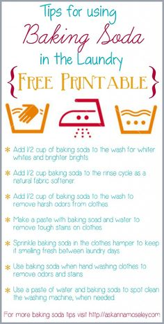 Tips for using Baking Soda in the Laundry ~ Free Printable