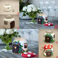 For fairy garden? Paint old Yankee candle jar and use flameless candle inside